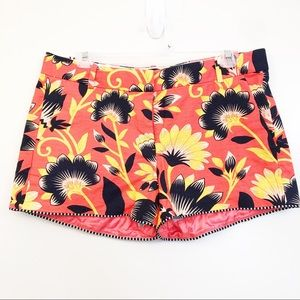 J Crew City Fit Hibiscus floral Shorts sz 8